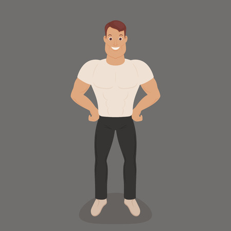 Strong young man staying and showing his muscles. Vector art. Illustration