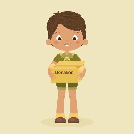 Little boy with a box doantion. Conceptual illustration. Vector art