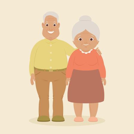 positiv: Happy smiling grandparents staying together. Vector illustration.