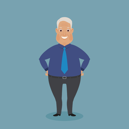 Smiling dressed up grandparent. Funny cartoon character. Vector art.