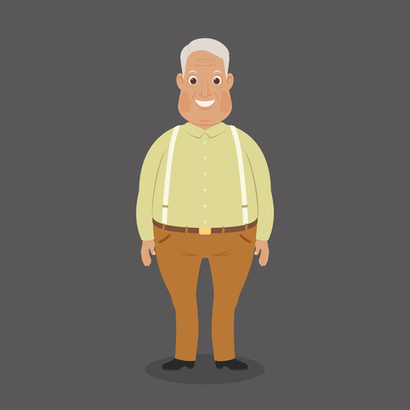 grey hair: Happy smiling grandparent staying alone. Funny cartoon character. Vector art. Illustration