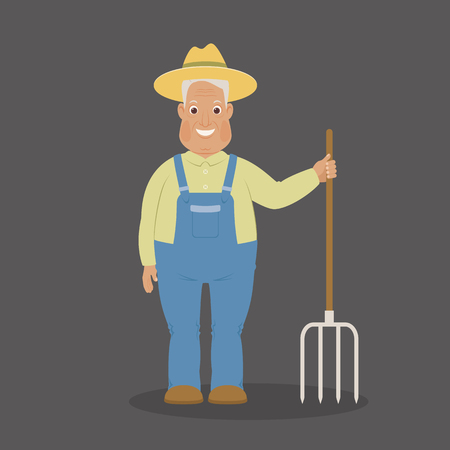 Smiling farmer staying with pitchfork. Funny cartoon character. Vector art.