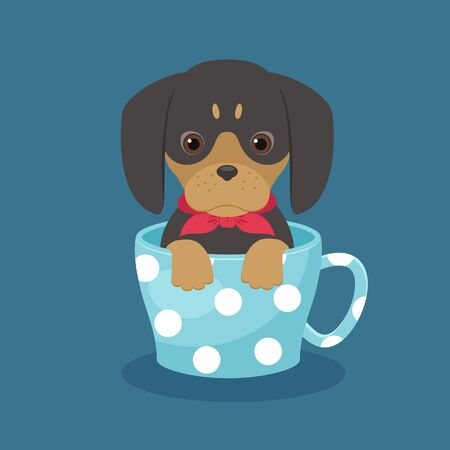 Dachshund puppy sitting in a cup. Vector art. EPS 10