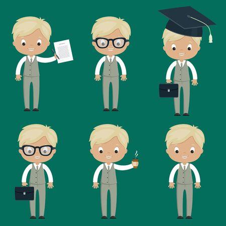 Set of office cartoon men. Vector art. EPS 10