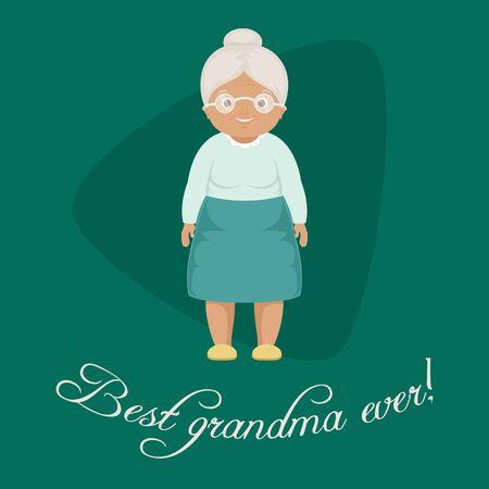 """""""La meilleure grand-mère jamais!"""" Modèle de carte / poster. Illustration vectorielle grand-mère souriante. EPS 10 Banque d'images - 76736622"""