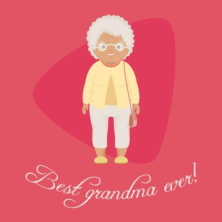 """""""Meilleure grand-mère!"""" modèle de carte / affiche. Illustration vectorielle de grand-mère souriante. EPS 10 Banque d'images - 76736625"""