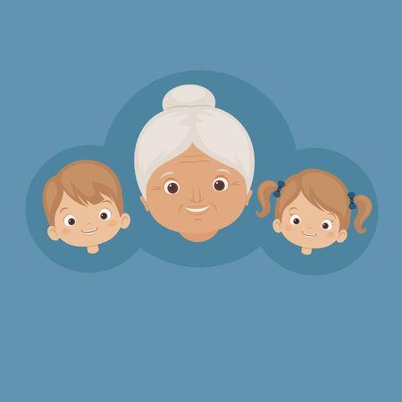 grandson: Happy grandmother with grandchildren. Smiling faces of family. Vector art. Illustration