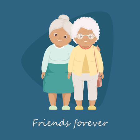 Friends forever cardposter template. Two grandmothers staying close to each other. Vector illustration EPS 10