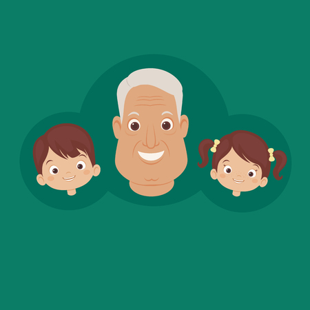Happy grandfather with grandchildren. Smiling faces of family. Vector art. Illustration