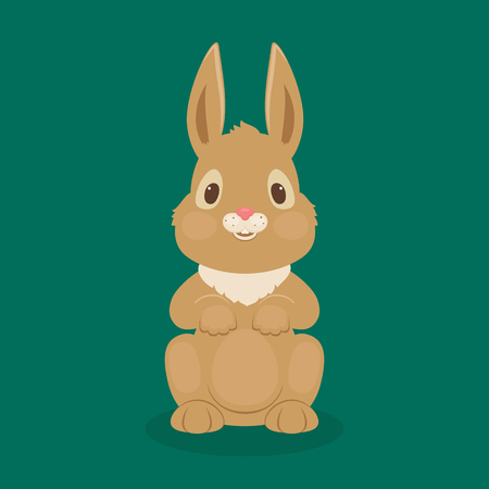 Rabbit vector illustration. Cute bunny sitting alone.