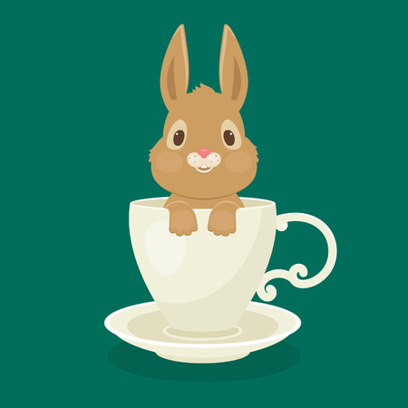 Rabbit/bunny sitting in white cup. Vector art.