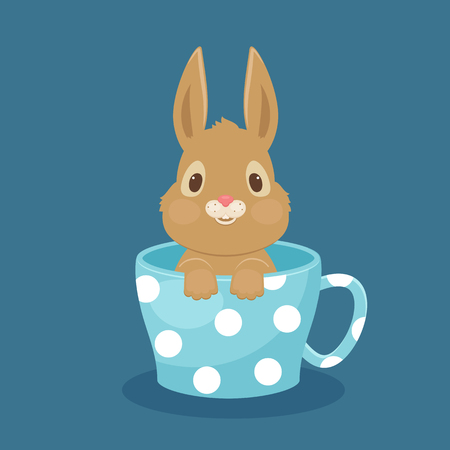 Rabbitbunny sitting in a cup. Vector art. EPS 10 Illustration