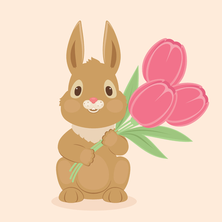 Bunnyrabbit with tulips flowers. Blank greeting card template. Vector illustration Illustration