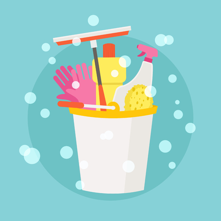 Spring Cleaning vector flat design royalty free stock illustration. EPS 10