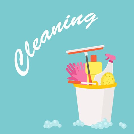 Spring Cleaning vector flat design royalty free stock illustration