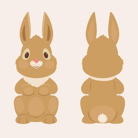 ウサギ前面し、背面します。ベクトル図  イラスト・ベクター素材