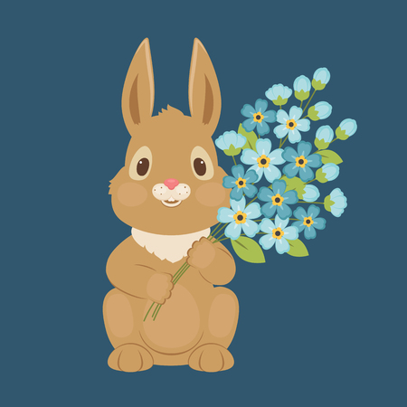Bunnyrabbit with forget-me-not flowers. Blank greeting card template. Vector illustration