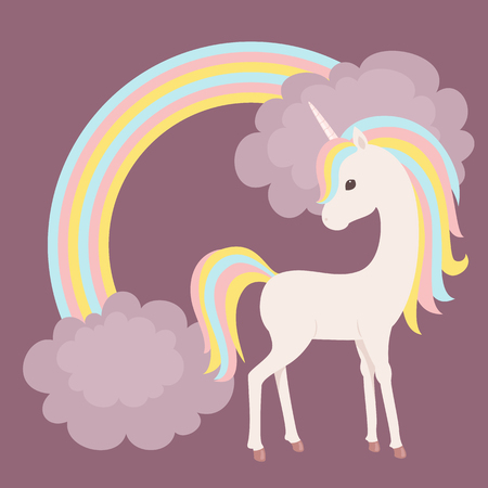 Colorful unicorn staying close to rainbow with clouds. Vector art