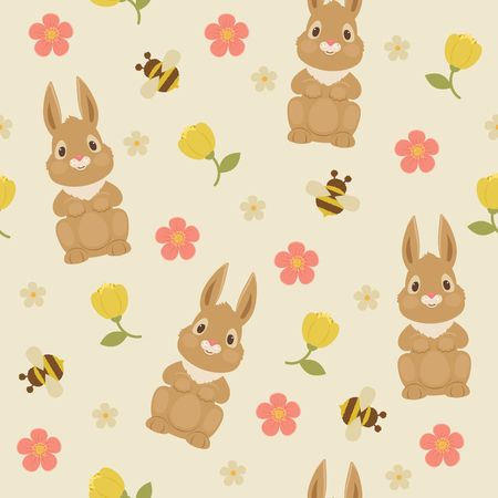 Rabbitbunny and bumble bee. Vector floral seamless pattern.