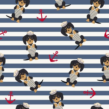 Dachshund puppy in a sailorman costume with anchors around. Vector seamless pattern.