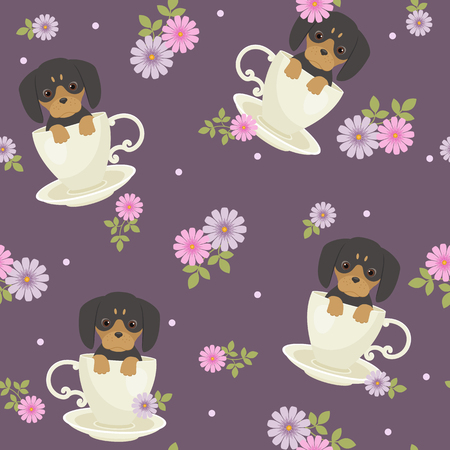 Dachshund puppy sitting in a cup with flowers around. Vector seamless pattern.