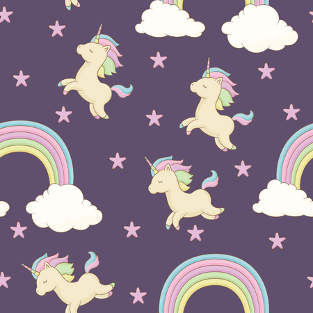 Unicorn with rainbow mane, stars and rainbow with clouds. Seamless childish wallpaper or fabric design template. Vector seamless pattern