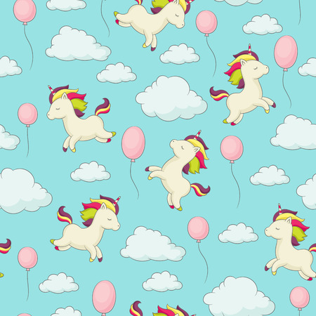 Unicorn with rainbow mane flying in the sky surrounding by clouds and balloons. Seamless childish wallpaper or fabric design. Vector seamless pattern