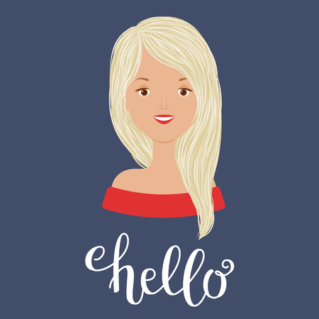 Young beautiful girl portrait. Hand lettering hello. Vector art