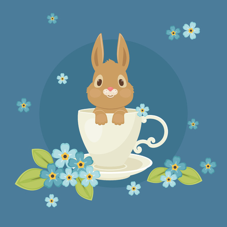 Bunnyrabbit sitting inside the cup with forget-me-not flowers around. Vector illustration