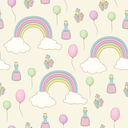Rainbow, balloons, fairy dust and crystals. Unicorn themed seamless childish wallpaper or fabric design template. Vector seamless pattern