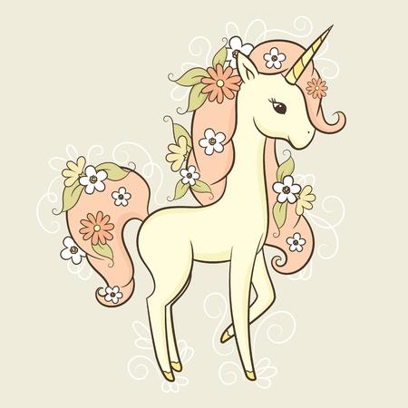Romantic and elegant unicorn in flowers. Wallpaper, card, sticker or poster design. Vector hand drawn illustration Illustration