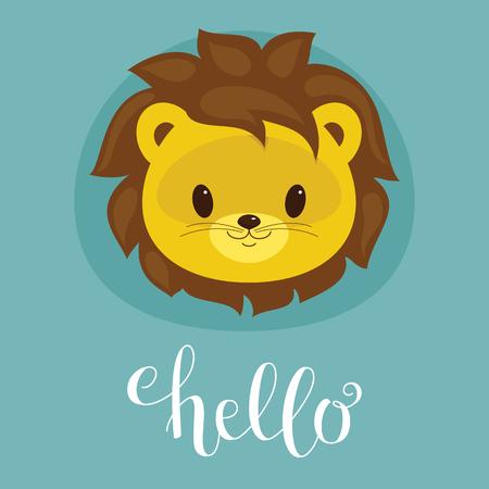 Cute lion cub head. Lettering Hello.