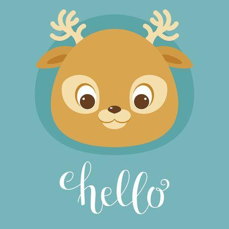 Cute deer head. Hand writing