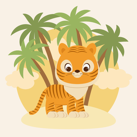 Cute little tiger cub staying on sand in front of palm trees. Vector cartoon illustration