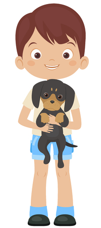 adoring: Happy little boy holding dachshund puppy. Vector illustration