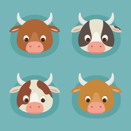 Four cute cartoon cow heads. Diversity of cow breeds. Vector illustration. Illustration