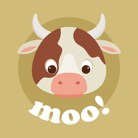 Adorable cartoon cow head with lettering moo!. Vector illustration. Illustration