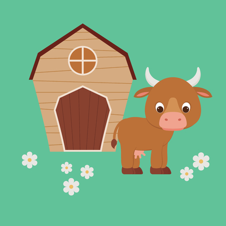 Cute cartoon cow staying in front of barn on a floral meadowfield. Vector illustration.