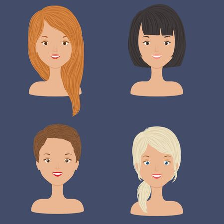 Four young beautiful women/girls portraits with diversity of hair styles and hair cuts. Vector art Ilustração