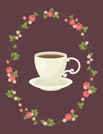 Hot cup of coffee in a floral wreath. Relaxation for coffee lovers concept. Vector art