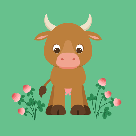 Cute cartoon cow staying on green background with clover flowers around. Vector illustration.