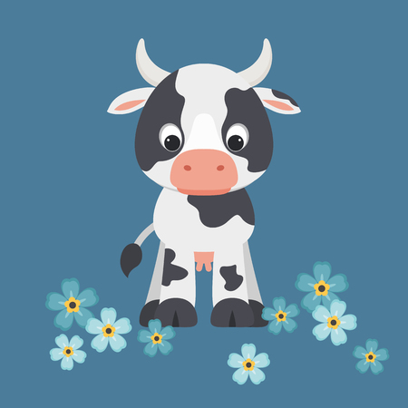 Cute cartoon cow staying on blue background with forget-me-not flowers around Vector illustration.