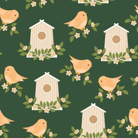 outside the house: Birds and birdhouses in SpringSummer time. Vector seamless pattern wallpaper