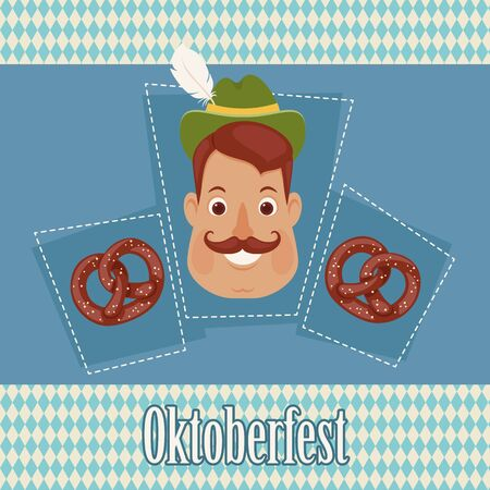 German man with pretzels on Bavarian background. Oktoberfest theme. Vector art.