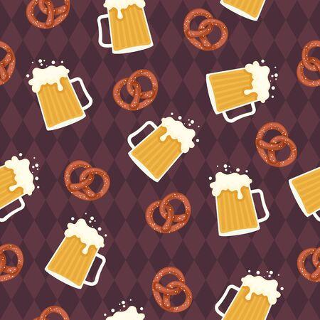 Beer and pretzels seamless pattern. German style wallpaper. Oktoberfest theme. Vector art.