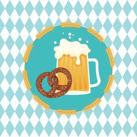 Beer and pretzel in wheat wreath on Bavarian  background. German Oktoberfest theme. Illustration