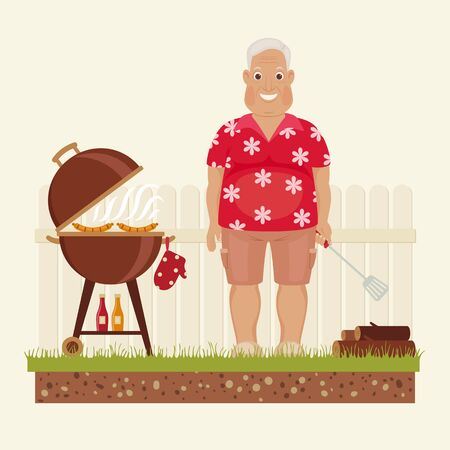 frankfurter: Happy smiling grandpa grilling outside. Funny cartoon character. Vector art.