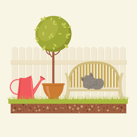Garden concept. Sleeping cat on a bench, tree with watering can and fence. Vector illustration Иллюстрация