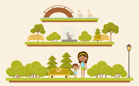 Park viewpanorama with family. Vector illustration