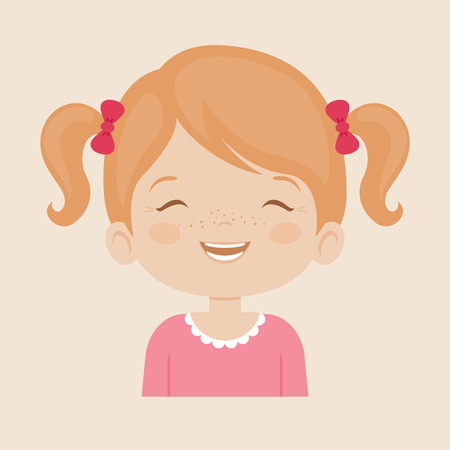 laugh out loud: White little girl laughing facial expression, cartoon vector illustrations isolated on cream background. Pretty little girl emoji laughing out load with closed eyes and open mouth.